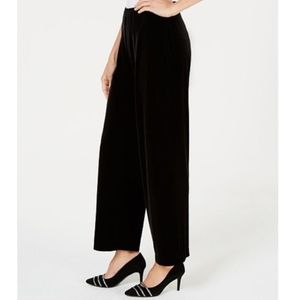 NWT Alfani Petite Black Velvet Wide Leg Pants PS